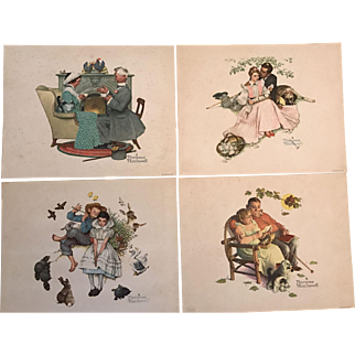 Set of Four (4) Vintage Norman Rockwell Prints