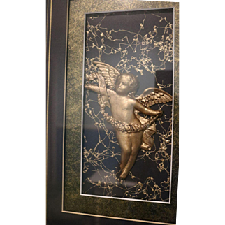 3D Angel or Cherub Art Professionally Framed and Double Matted