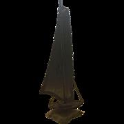 21 Inch Tall Folk Art Metal Sailing Ship Mounted on Granite or Marble -- Mantique Nautical Man Cave Desk