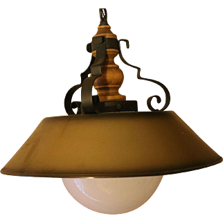 Tole Wrought Iron and Wood Chandelier or Ceiling Light Fixture - Rustic and Manly - Den Cabin Manly Gold Brown Color