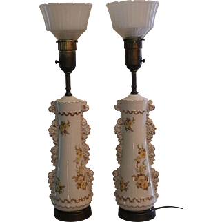 Pair of Rembrandt Torchiere Lamps - Gilded Porcelain - Art Deco Period