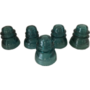 Set of Five Glass Insulators