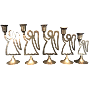 Set of 5 Silver Plated Hand Made Angel Candle Holders by International Silver Company