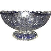 Small Cut Crystal Pedestal Punch Bowl -- Scalloped Edges -- Indiana Glass