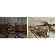 Pair of Margaret M Martin Lithographs -- Boats in Harbor and Canal Scene