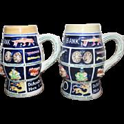 Set of 2 Ceramic Schnitzelbank Steins