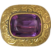 Edwardian Amethyst Color Glass Engraved Brooch