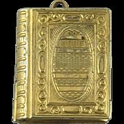 Engraved Book Locket Pendant 9K Gold Plate - Red Tag Sale Item