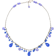 Blue and Lavender Chalcedony Sterling Silver Festoon Necklace