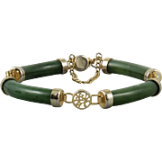 Curved Link Jade Panel Bracelet with Chinese Characters