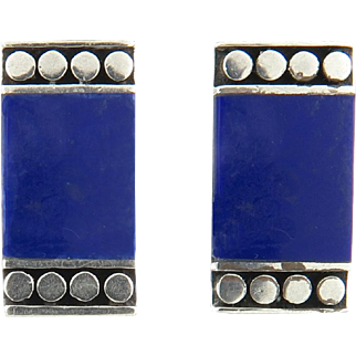 Lapis and Sterling Silver Rectangle Clip Back Earrings