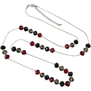 Iridescent Glass Bead Long Chain Necklace