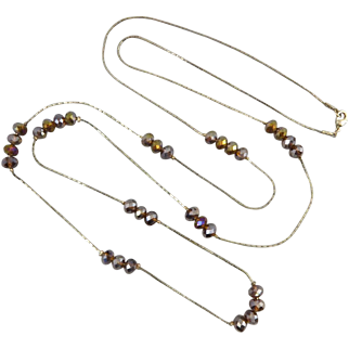 Aurora Borealis Bronze Glass Bead Long Necklace