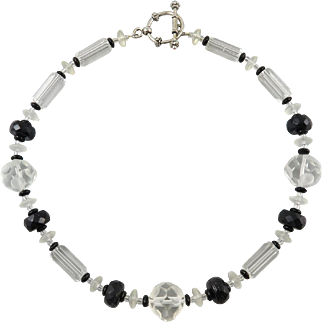 Black and Clear Crystal Bead Necklace