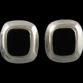 Sterling Silver Black Onyx Omega Back Earrings