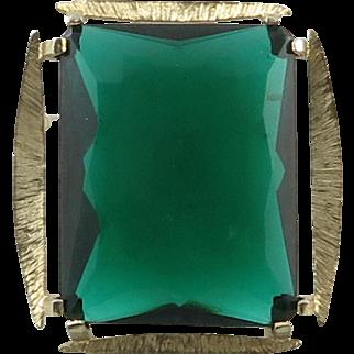 Big Emerald Color Green Glass Brooch