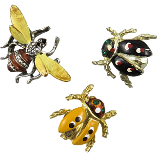Set of 3 Enameled Bug Scatter Pins
