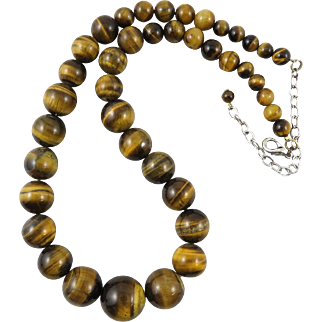 Graduated Tiger Eye Agate Bead Necklace