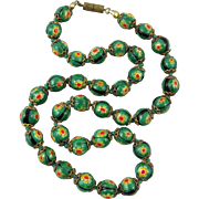 Venetian Green, Yellow and Red Millefiori Glass Bead Necklace
