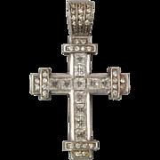 Large Sterling Silver CZ Cross Pendant