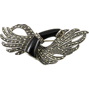 Black Onyx and Marcasite Sterling Silver Brooch