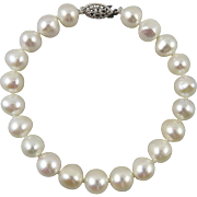 Large Freshwater Cultured Pearl Bracelet Sterling Clasp