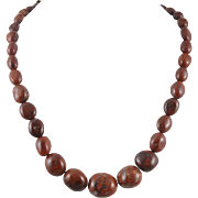 Red Brecciated Jasper Bead Necklace with Sterling Silver Clasp