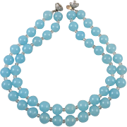 Double Strand Blue Quartz Necklace with Rhinestone Clasp