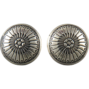 Sterling Silver Engraved Concho Earrings