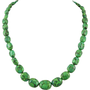 Green Turquoise Composite Stone Sterling Silver Necklace
