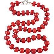 Red Coral Color Enhanced Bead Necklace