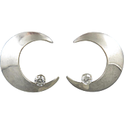 Large Moon and CZ Star Sterling Silver Earrings