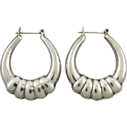 Puffy Sterling Silver Oval Hoops