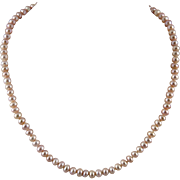 Cultured Dusty Pink Enhanced Color Cultured Pearl Necklace
