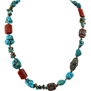 Tibetan Turquoise and Coral Mixed Bead Necklace