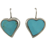 Turquoise and Sterling Heart Earrings