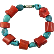 Turquoise and Enhanced Red Coral Bracelet