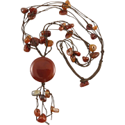 Carnelian Nugget and Disk Tassel Cord Style Necklace