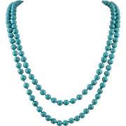 Long Strand of Turquoise Magnesite Beads