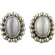 Cat's Eye White Glass and Sterling Silver Button Earrings