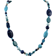 Blue Mixed Bead Necklace Includes Sodalite and Magnesite
