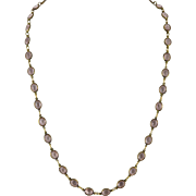 Bezel Mauve Pink Crystal Necklace