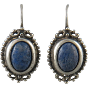 Lapis and Sterling Silver Euro Wire Earrings