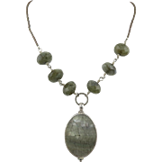 Labradorite and Shell Pendant Necklace Sterling Clasp