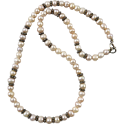 Freshwater Cultured Pearl and Sterling Silver Necklace
