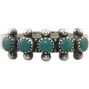 Petit Point Sterling Silver Natural Turquoise Ring