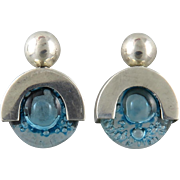 Sterling and Blue Bubble Glass Earrings