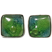 Green Bubble Glass and Sterling Silver Earrings