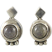 Labradorite and Sterling Silver Bali Style Earrings