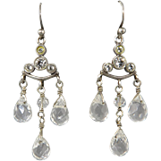 Sparkling Crystal Chandelier Sterling Silver Earrings